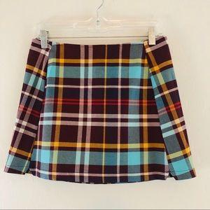 Urban Outfitters Maroon Plaid Mini Skirt Sz S NEW